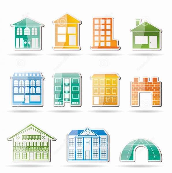 виды домов зданий различные Иллюстрация вектора - иллюстрации ...