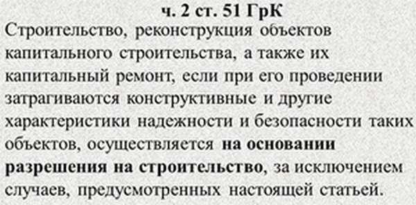Часть 2 ст 51 ГрК РФ - формулировка статьи