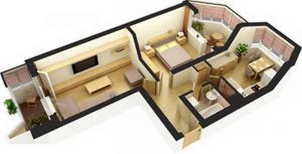 Вид квартиры-распашонки