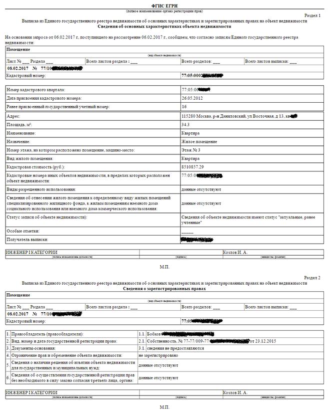 Пример выписки из единого реестра на квартиру
