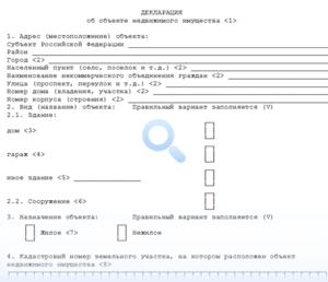 Пример заполнения дикларации